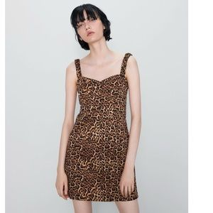 ZARA Animal Print Bodycon Mini Dress NWT Medium